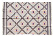 Flatwoven Handmade Rug Carpet Dhurrie Reversible Cotton Grey And Beige 5and039x7and039