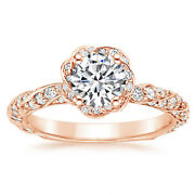 1.00 Carat Round Solitaire Real Diamond Wedding Rings 14k Rose Gold Size 5 6 7.5