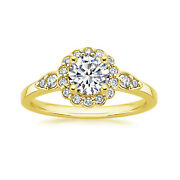 0.70 Ct Round Natural Diamond Engagement Fancy Ring 14k Yellow Gold Size 5 6 7.5