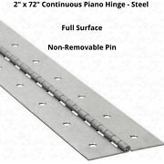 2 X 72 Piano Hinge Steel Finish Continuous Full Surface Non-removable Pin New