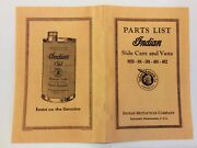 Indian Motorcycle Side Car And Parts Catalog Brochure Manual Antique Repro