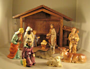 M I Hummel Nativity 9 Set W/wooden Stable--very Good Condition, No Boxes