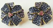 New Rare Joan Rivers Jeweled Flowers Collection Violet Pierced Earrings