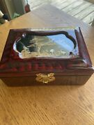 Vintage Chinese Lacqured Jewelry Box Cork Art