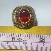 Vintage - Military Army Engineers Ring - Gold Red - Size 8 - Alpha Brand