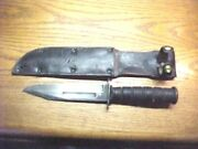 Ww2 Wwii Camillus Usmc Marked Fighting Knife And Later Leather Sheath Very Rare