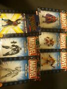 Lot Of 6 Marvel Die Cast Poseable Action Figures Toy Biz 00 And 02 New War Machine