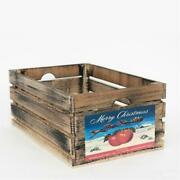 At Home On Main Vintage Style Wood Fruit Crate Christmas Apple In Black Large