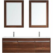 Vinnova Thomas 60 Double Vanity With Under Mount Sink And Mirror In Walnut