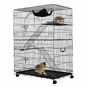 2-tier Cat Playpen Cat Cage With 2 Climbing Ladders And Hammockand2 Rest Benches