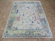 8and03911 X 11and0398 Hand Knotted Ivory Colorful Oushak Oriental Rug G10633
