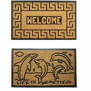 Imports Decor Rubber Back Coir Doormat, Set Of Welcome Greek Key And Dolphin...