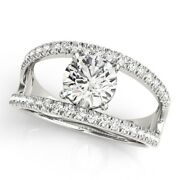0.80 Ct Round Cut Real Diamond Engagement Ring 18k Fine White Gold Wedding Rings