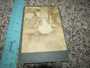 Vintage Cabinet Card Photo Photograph Child In Front Of A Crazy Quilt