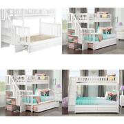 Atlantic Furniture Woodland Staircase Bunk Raised Panel Trundle Bed Twin/full