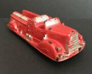 Vintage Auburn F.d. Red Rubber Fire Engine Ladder Truck Toy With Original Paint