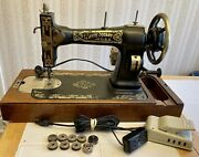 Vintage 1882 White Rotary Sewing Machine W/electric Motor And Wood Base Treadle