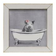 New Shabby Farmhouse Chic Country Hot Bacon Bath Tub Pig Picture Wall Hanging