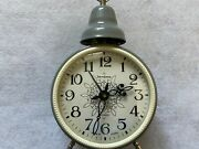 Vintage Russian Made 4 Jewels Wind Up Alarm Clock