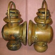 Pair 1907-11 Corcoran Brass Sidelamps Buick Model T Ford Reo Oldsmobile