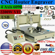 Usb 4 Axis 6090 2.2kw Vfd Engraver 3d Engraving Machine Metalworking Mill Drill