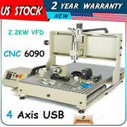 Usb 4 Axis 6090 Router 2.2kw Spindle Vfd 3d Metal Wood Engraver Machine 110v
