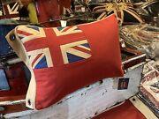 British Red Ensign / Duster End Union Jack / Aged Nautical Look Cushion 12x18in