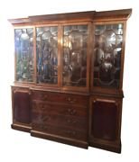 Antique Style English Solid Mahogany Breakfront Bookcase. London England