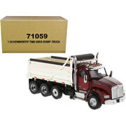 Kenworth T880 Sbfa Dump Truck Radiant Red And Chrome 1/50 Diecast Model By Di...