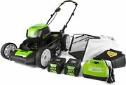 Pro 80v 21 Inch Cordless Push Lawn Mower Includes Two 2ah Batteries And Charger