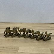 Vintage Brass Camels Elephants Horses Rolling Toy From India Cool About 3 Tall