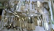 Very Large 203 Mixed Assorted Lot Silverplate Spoons Forks Knives Serving Pieces