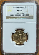 1999 Gold American Eagle 10 Ngc Ms70 1/4oz .999 Fine Better Date Collectors