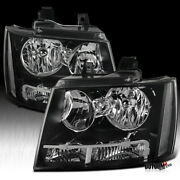 Fits Chevy 2007-2014 Avalanche Tahoe Suburban Black Headlights Lamps Left+right