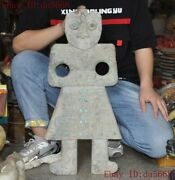 27china Hongshan Culture Old Jade Inlay Turquoise Weird People Man Yubi Statue