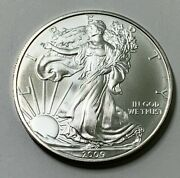 One 2009 American Silver Eagle Bu - From Mint Roll - Spectacular Coins In 2009