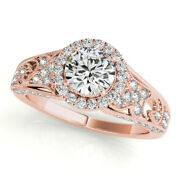 1.10 Ct Round Cut Real Diamond Engagement Bridal Rings 14k Rose Gold Size 6 7 8