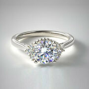 0.88 Carat Solitaire Real Diamond Engagement Rings 14k White Gold Size 5 6 7 8 9