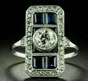 Victorian Edwardian Royal Antique Style Ring 14k White Gold Over 1.51 Ct Diamond