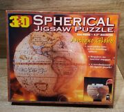 """New 3d Spherical 530 Piece Jigsaw Puzzle World 9.5"""" Antique Globe Sealed"""