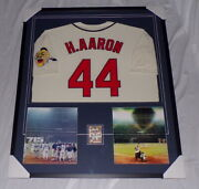 Hank Aaron Signed Framed 32x38 Jersey And Photo Display Braves