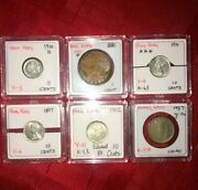 Lot Of 6 Hong Kong And China Coins Silver Queen Victoria King Edward 1800s 1900s