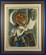John Haymson Signed And Numbered Untitled Lithograph Girl Playing Pipe And Framed