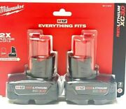 Milwaukee 48-11-2412 M12 Red Lithium Xc 3.0 2-pack Battery Brand New - Sealed