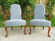 Excellent Pair Of Ethan Allen Upholstered Arm Chairs Georgian Queen Anne Style