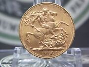 1918 I India Gold Full Sovereign George V Bu East Coast Coin And Collectables