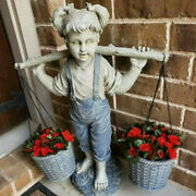 6.2and039and039outdoor Yard Lawn Art Diy Resin Girl Statue Flower Pot Yard Pond Decoraiton