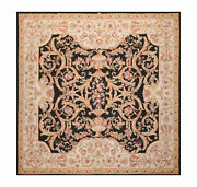 8and039x8and039 Asmara Square Hand Woven French Aubusson Classic Flatweave Area Rug Black