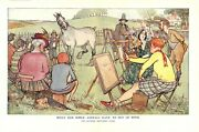 Vintage Punch Color Print What Our Noble Animals Have To Put Up With Painting