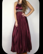 My Michelle Red Long Dress Small Prom Homecoming Formal Maxi Satin Beading